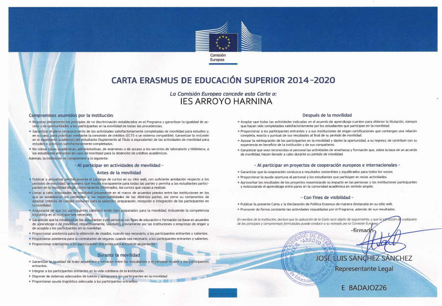 CARTA ERASMUS DE EDUCACioN SUPERIOR
